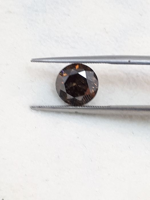 Diamond - 2.15 ct - Round - fancy deep orangy brown - I2