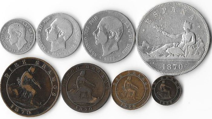 Spain - Centimo up to and including 5 Pesetas 1870/1883 (8 pieces)
