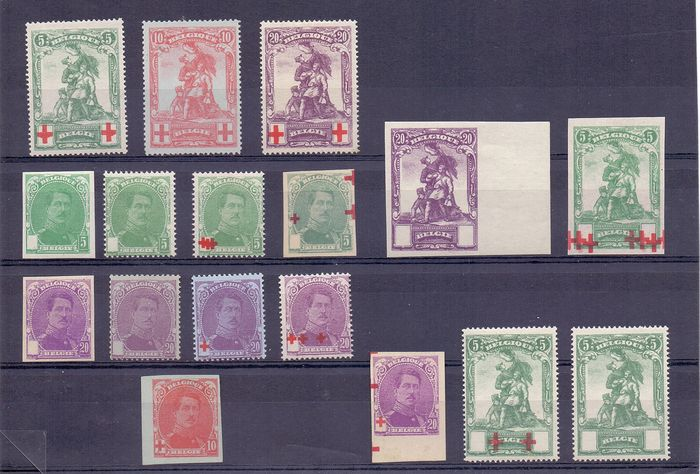 Belgium 1914/1915 - Collection of perforate and imperforate proofs, Red Cross Albert I and Statue De Mérode