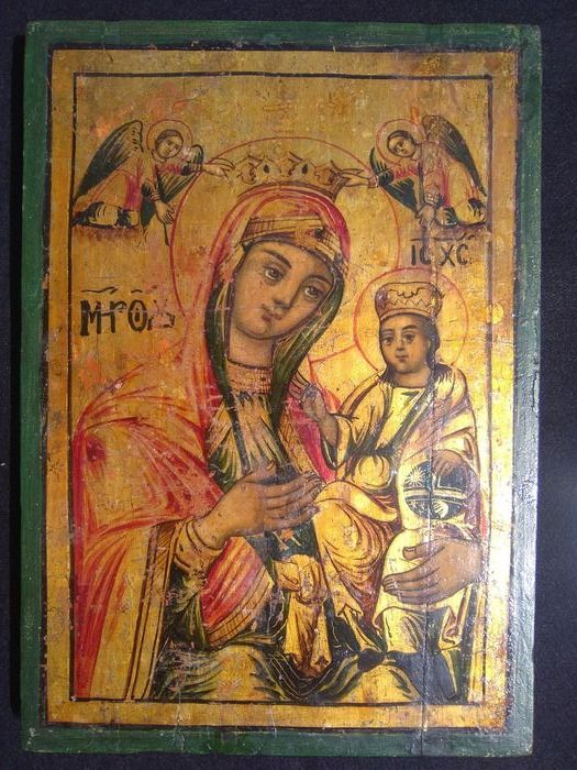 Icon, Virgin and child (1) - Wood - Late 19th century