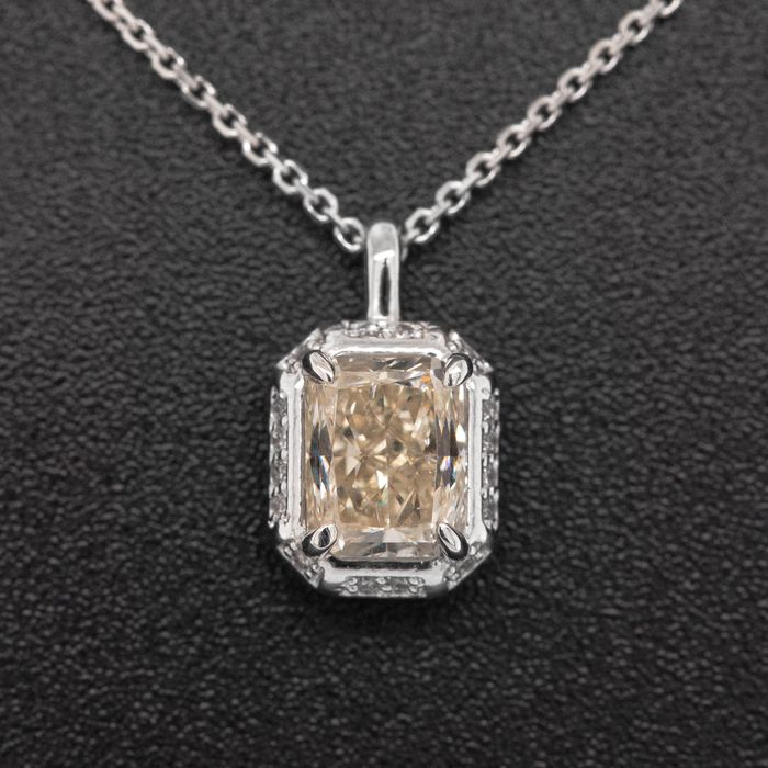 14 kt. White gold - Necklace with pendant - 1.05 ct Diamond - No Reserve Price