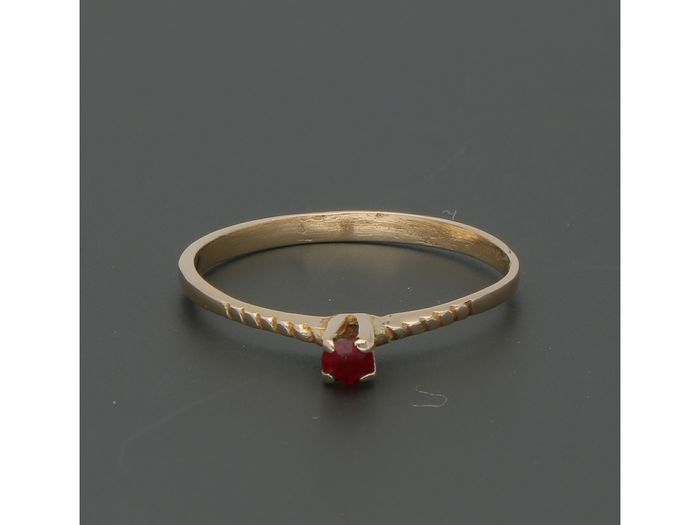 18 kt. Gold - Ring - 0.10 ct Ruby