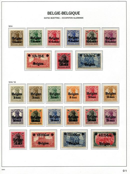 Belgium 1914/1921 - Complete collection of occupation stamps on DAVO album pages - OBP / COB OC1/105