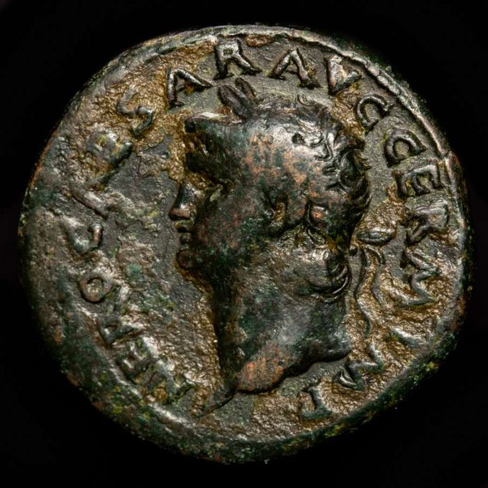 Roman Empire - AE As, Nero (54-68 AD). Rome mint, 66 AD - Victory flying left, holding shield