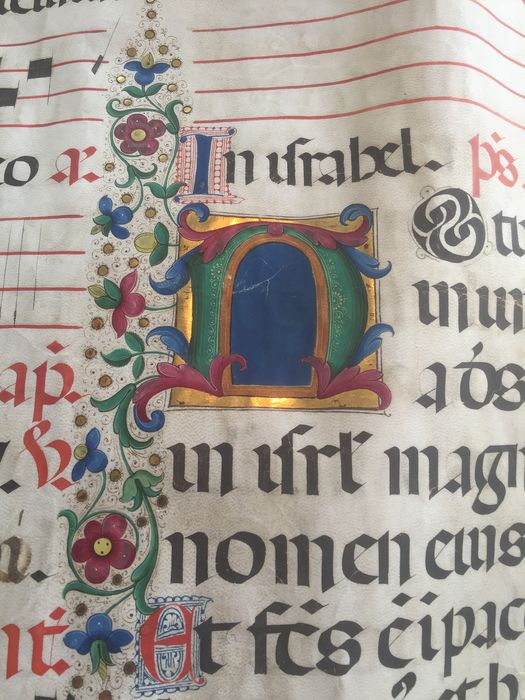 Anthiponal - Sing unto the LORD a new song; Illuminated vellum leaf - 1490