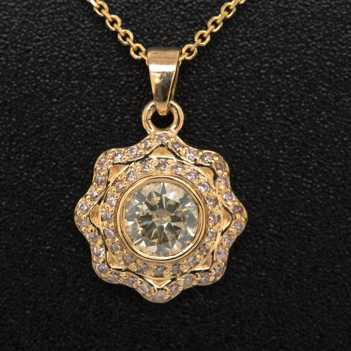 14 kt. Yellow gold - Necklace with pendant - 0.47 ct Diamond