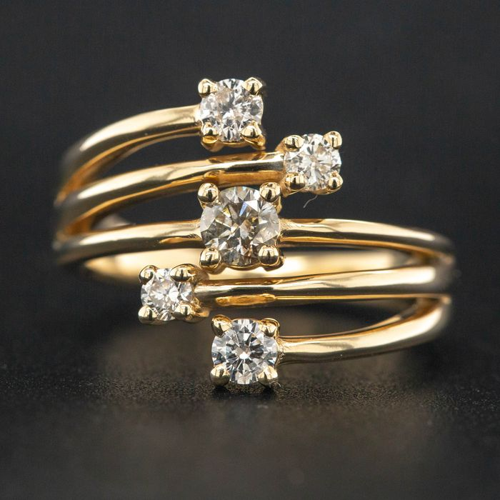 14 kt. Yellow gold - Ring - 0.63 ct Diamond - No Reserve Price