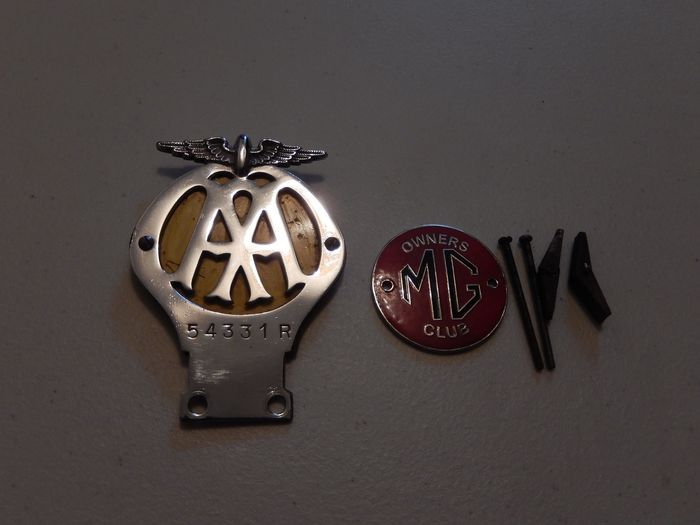Badge - 2 AA Automobile Association and MG Owners Club Enamel Car Badges Auto Emblems - British