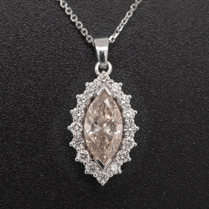 14 kt. White gold - Necklace with pendant - 1.28 ct Diamond - No Reserve Price