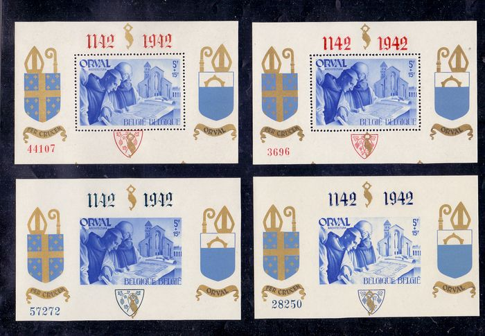 Belgium 1941/1942 - Set of four small numbered Orval blocks and two large blocks - OBP / COB BL11/12 + BL18/21