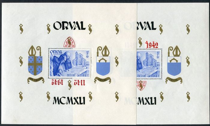 Belgium 1942 - Two large format Orval blocks with printing errors - OBP / COB BL22 + 24