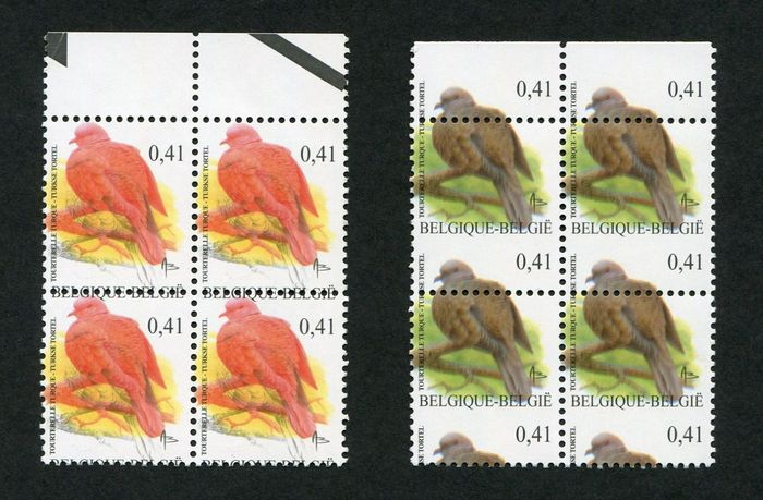 Belgium 2002 - Buzin: 'Collared dove' with shifted print/perforation and printing error/colour variety - OBP / COB 3135 in 2 blokken van 4