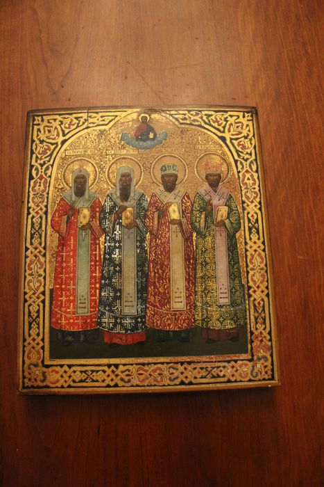 Icon, 4 Holy Metropolitans of Moscow. (1) - Wood - 19th century
