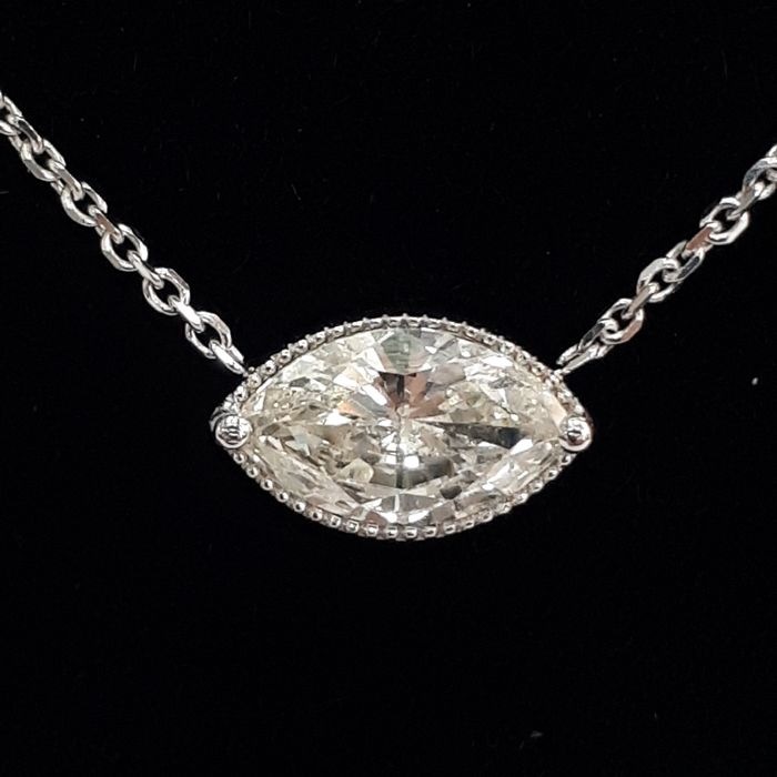 14 kt. White gold - Necklace with pendant - 0.76 ct Diamond