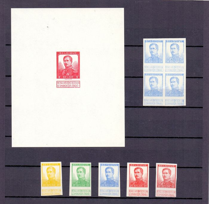 Belgium 1912 - Proofs Albert II Pellens - 5fr wine-red - Stes 310-311 and 25c without the name of the engraver