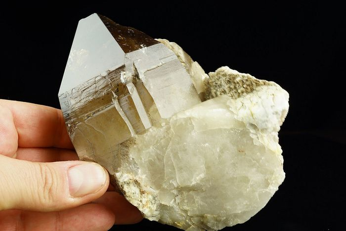Huge SMOKY citrine QUARTZ with phantoms and albite - fantastic size and shape - 130×115×80 mm - 985 g