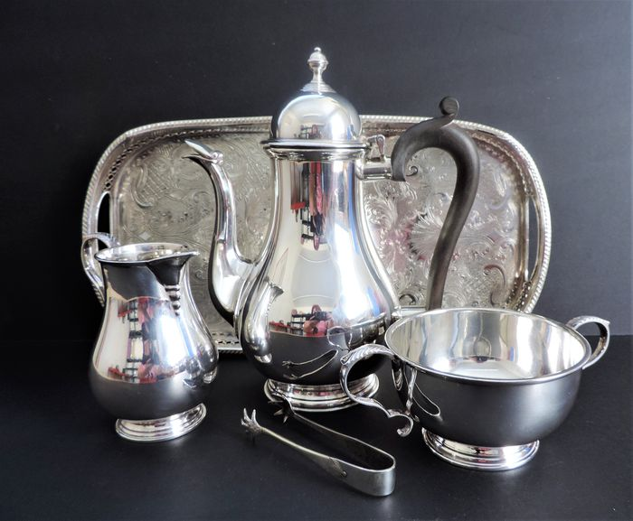 Mappin and Webb - Antique Silver Plate Coffee Set on Gallery Tray (5) - Regency Style - Silverplate