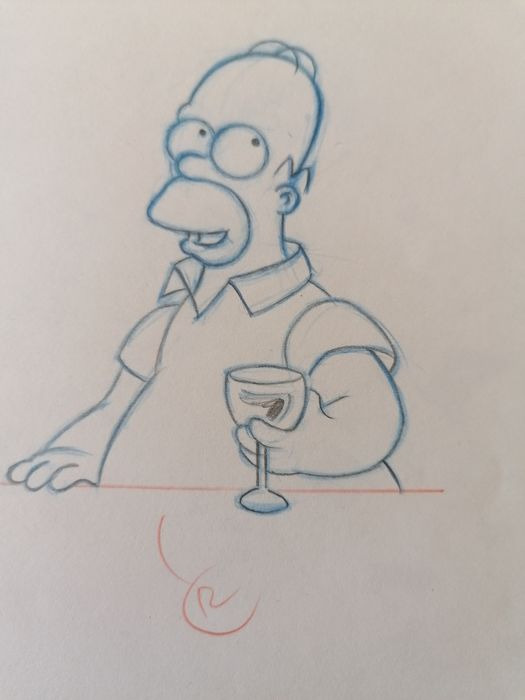 The Simpsons  - Homer original drawing - First edition
