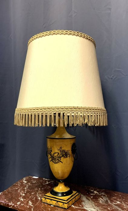 Grote Empire lamp in geverfd blad h72cm - Tole - 1900