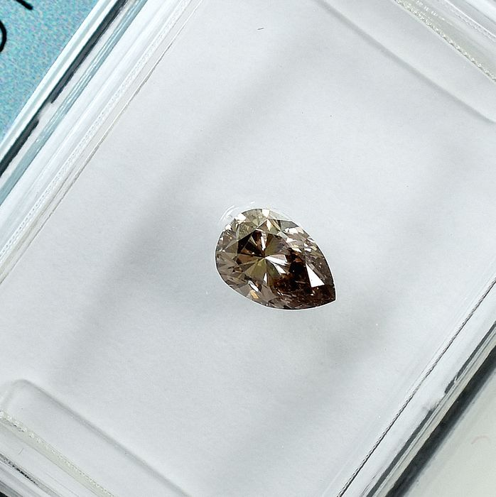 Diamond - 0.32 ct - Pear - Natural Fancy Deep Brown - VS1 - NO RESERVE PRICE