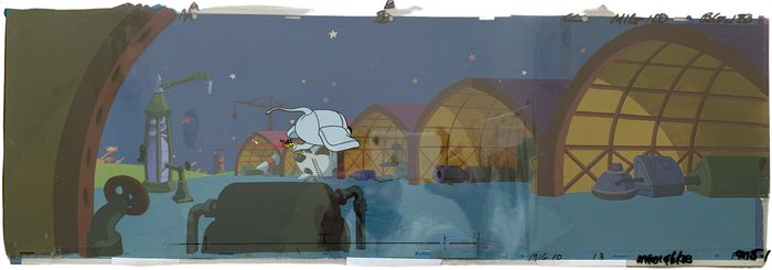 Mighty Mouse - full panoramic scene: 7 cels and painted bakckground - First edition - (1987/1988)