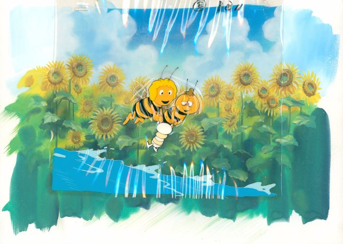 Maya the Bee (Die Biene Maja) - full scene: 2 cels and painted background - First edition - (1975/1980)
