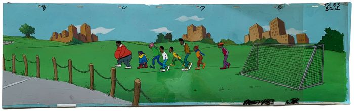 Fat Albert and the Cosby Kids - panoramic full scene: 4 cels and painted background - First edition - (1972/1985)