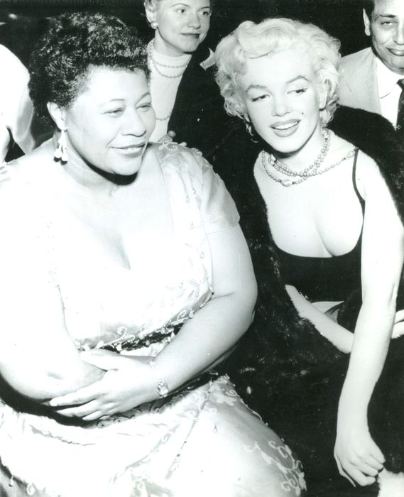 Associated Press Wirephoto - Marilyn Monroe and Ella Fitzgerald together in Hollywood, 1954