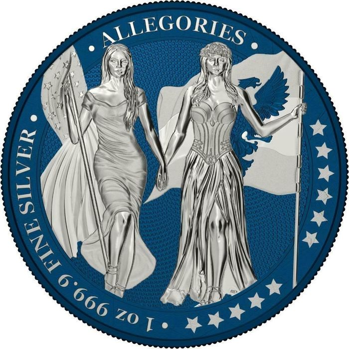 Germany - 5 Mark 2019 - Germania -  The Allegories i-Color Edition -  INDIGO DYE - 1 Oz - Silver