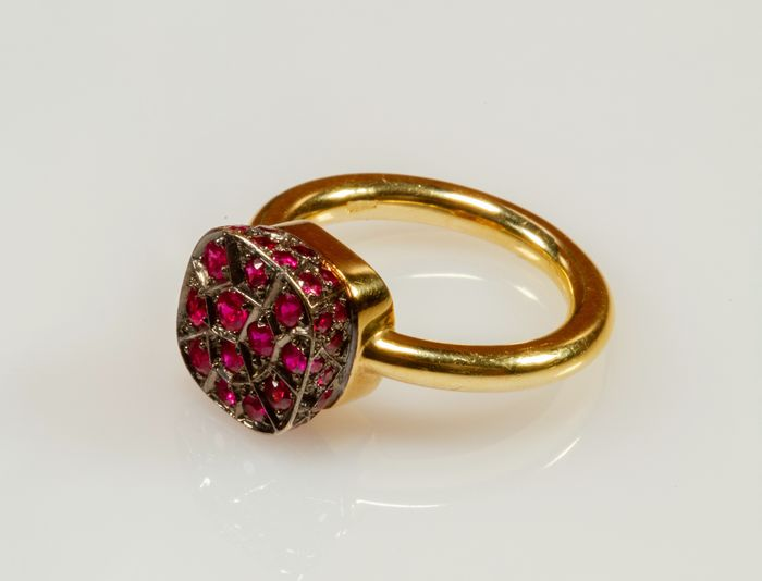 18 kt. Yellow gold - Ring - Rubys