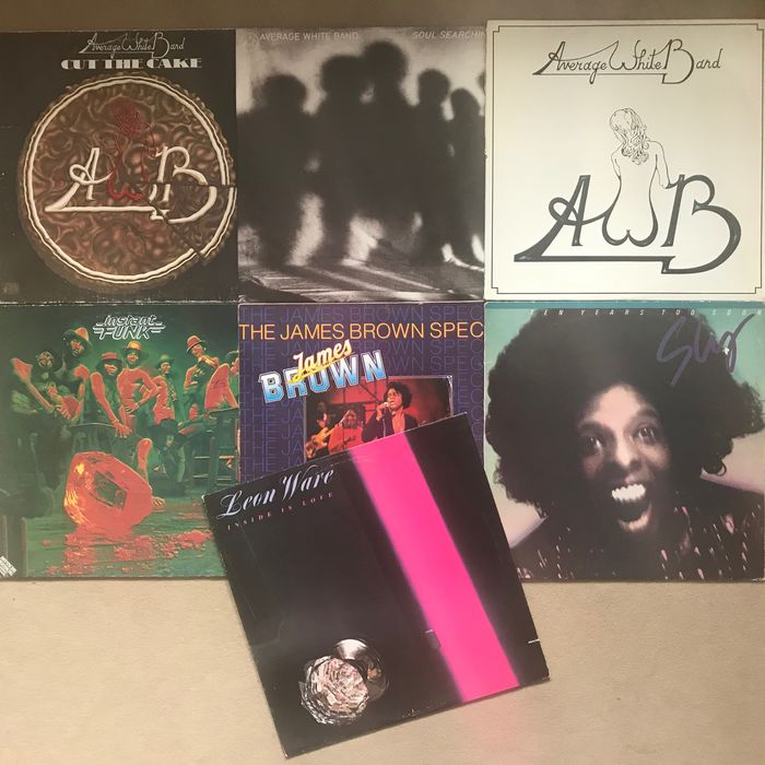 James Brown & Related, Sly & The Family Stone, Various Artists/Bands in Funk, Various Artists/Bands in Soul - Multiple artists - Average White Band, Instant Funk, Leon Ware - 70s Funk - Multiple titles - LP's - 1974/1979