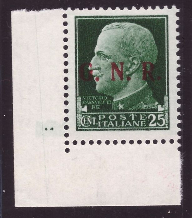 Italien 1943 - RSI - 25 cents Imperial with Brescia overprint of the 3rd type - Sassone N. 474/III