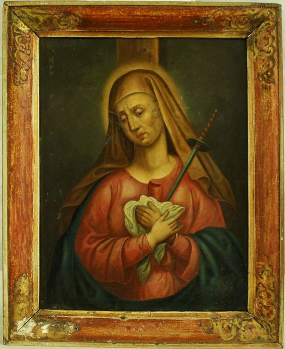 Painted, Mater Dolorosa - oil on foil and on wood - Second half 18th century