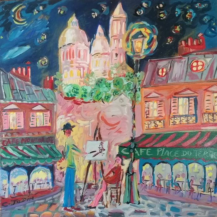 Christian Jodin - Christian Jodin Artist Painter in the Evening at the Moonlight on Place du Tertre in Paris