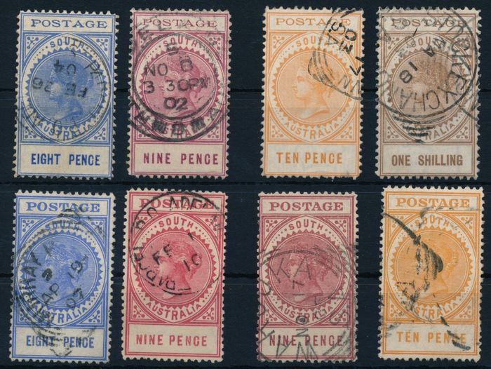 South Australia 1902/1904 - Queen Victoria, 8 p blue, 9 p red, 10 p yellow and 1 shilling brown,