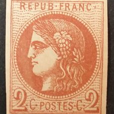 Frankrijk 1870 - Bordeaux, 2 centimes brown-red, transfer 2. - Yvert 40B