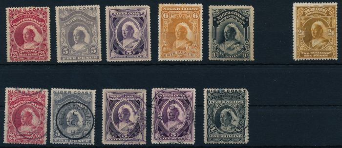 Niger Coast Protectorate 1894/1897 - Queen Victoria, 2 1/2 p red, 5 p grey, 5 p purple, 6 p brown, 1 s black and 2/6 s brown
