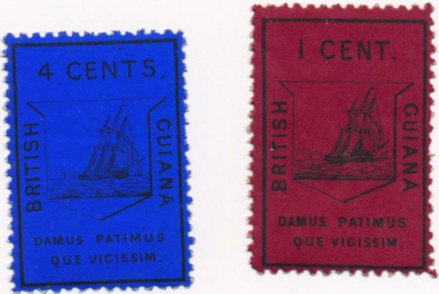 British Guiana 1865 - 1 cent red and 4 cents blue, official reprints, perforated, on thick paper - Stanley Gibbons Nr. 9/10