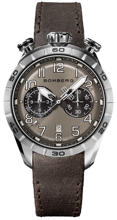 Bomberg - BB-68 RACER Chronograph Watch Steel Brown Leather Strap - NS44CHSS.206.9 - Men - Brand NEW