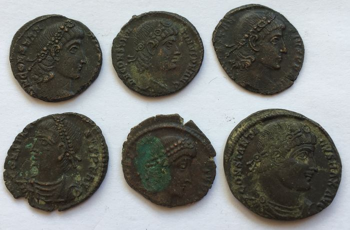 Empire romain. Constantinian dynasty. Group of 6x Roman AE folles/nummi,  Circa 300-340 A.D. - different emperors & different reverses