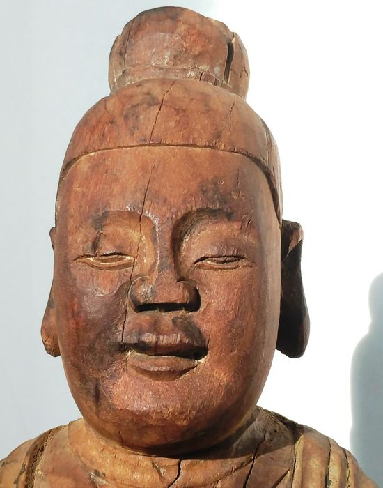 Statue - Wood - Antique Wei Jin Style Standing Guanyin (站立觀音) - China - Qing Dynasty (1644-1911)
