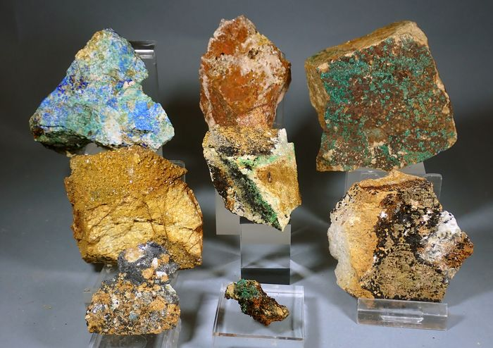Azurite Mineral Collection - 987 g - (8)