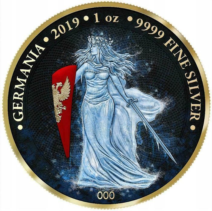 Germany - 5 Mark 2019 'Germania Ice' type Gold and Full Color - number in coin - with Box and Coa  - Silver