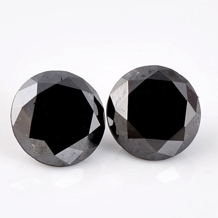 2 pcs Diamond - 2.66 ct - Brilliant, Round - fancy black - Not mentioned on certificate