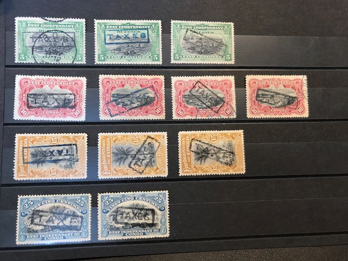 Belgisch-Kongo 1908 - Large lot with surcharge postage due stamps TX1-....