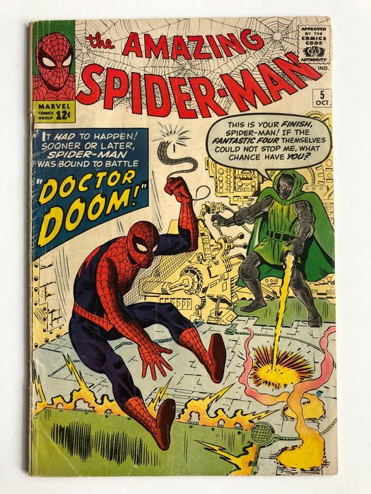 Amazing Spider-Man #5 - 1st Appearance Of Doctor Doom Outside Fantastic Four - Fantastic Four Appearance - Mid Grade - KEY BOOK!!! - Softcover - First edition - (1963)