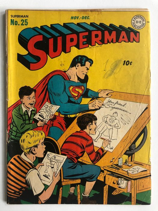 Superman #25 - Clarck Kent Joins The Army (His only Military Service) - Fred Ray's Only Superhero Story - Rare Golden Age Book!! - Mid Grade! - Softcover - Erstausgabe - (1943)
