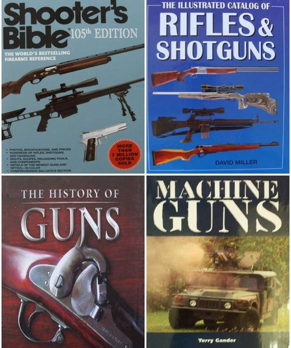 Inconnu - 4 Books : Shooter's Bible + Catalog of Rifles and Shotguns + A History of Guns + Machine Guns - . - Fusil, Fusil de chasse, Mitrailleuse, Pistolet, Revolver
