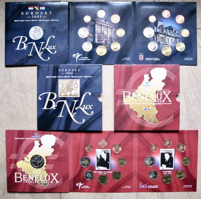 BeNeLux. Sets Eurocoins 2003 & 2004 (48 different coins and 2 medals)