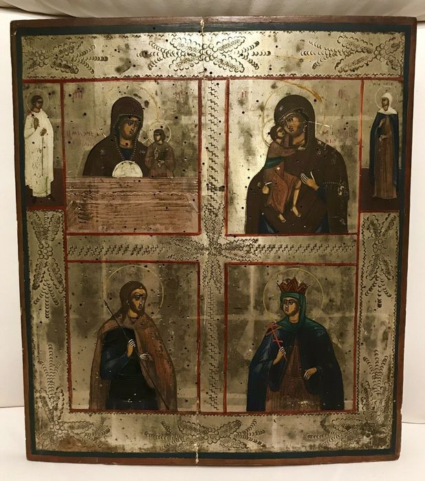Icon, Quadripartite (1) - Wood - Second half 19th century